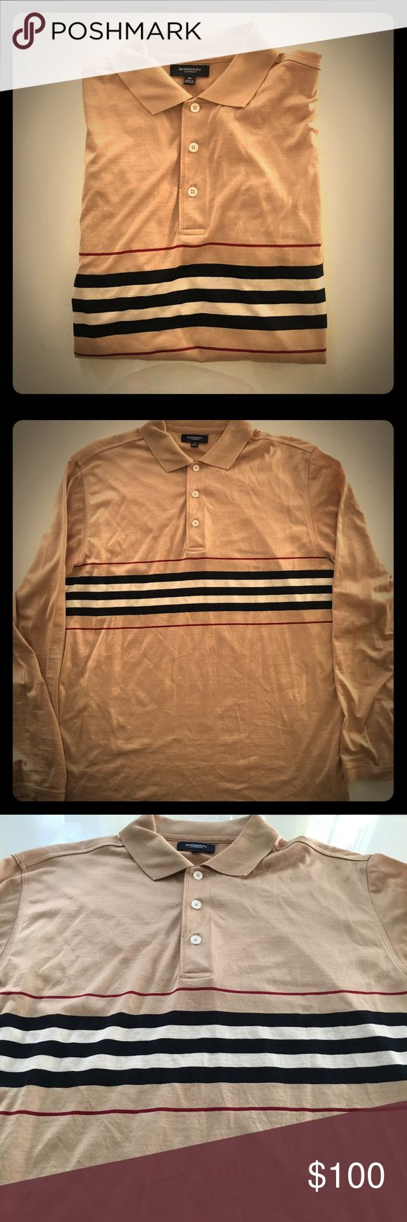 Burberry Men's Long Sleeve Polo Shirt Size Medium Pristine condition, 3-button collar, lightweight 100% cotton, long-sleeve, classic Burberry tan color with stripes along the chest. I can measure if you ask but it fits pretty true to size. Burberry Shirts Polos