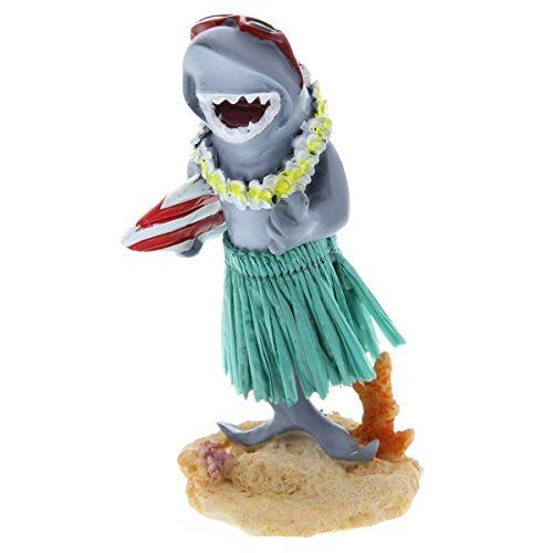 Hawaiian Miniature Dashboard Doll Shark With Surfboard  Measures approximately 4 inches tall.  Sculpted by an artist and hand painted to detail.  Place the doll on your car dashboard and watch it dance.  Made of polyresin.  Hawaiian Novelty Souvenirs make a great gift for that special someone!