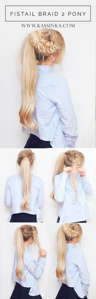 Fishtail Braid 2 Pony Hair Tutorial
