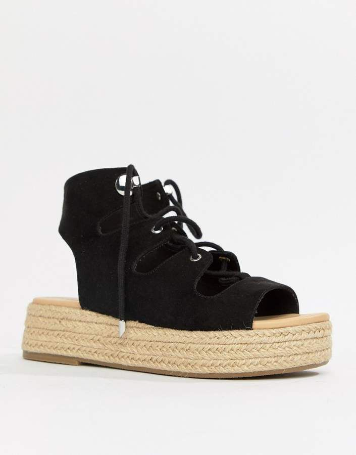 697575c60ed7 ASOS DESIGN Johnny Chunky Lace Up Espadrilles