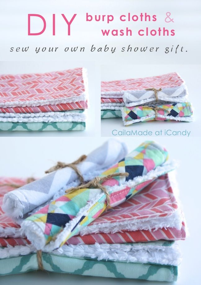 DIY burp cloths and wash cloths for baby! by CailaMade for iCandy Handmade