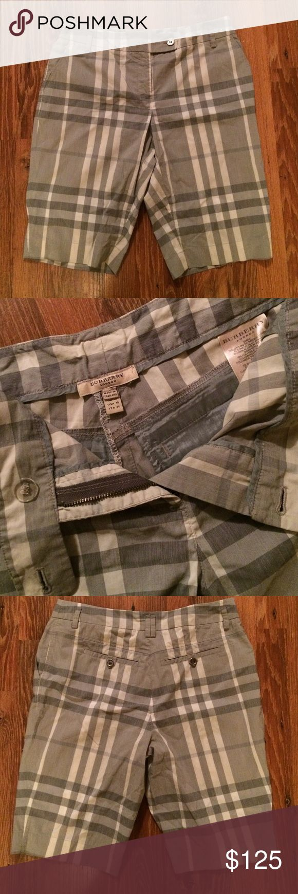 Burberry Plaid Shorts These are gorgeous Burberry shorts in gray. Lightweight soft, absolutely beautiful.  Like new, worn once.   Size 10.   I will consider reasonable offers. Burberry Shorts