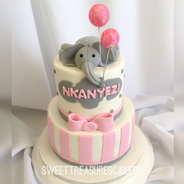 #birthday #cake #nkanyezi who turned #1 . #redvelvet and #vanilla topped with an #elephant and #balloons. #pink #grey #white #sparkle. #sweettreasurescakeco #sweettreasures #johannesburg #party #celebrations #joburg