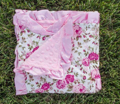 Vintage Rose Pink Minky Blanket