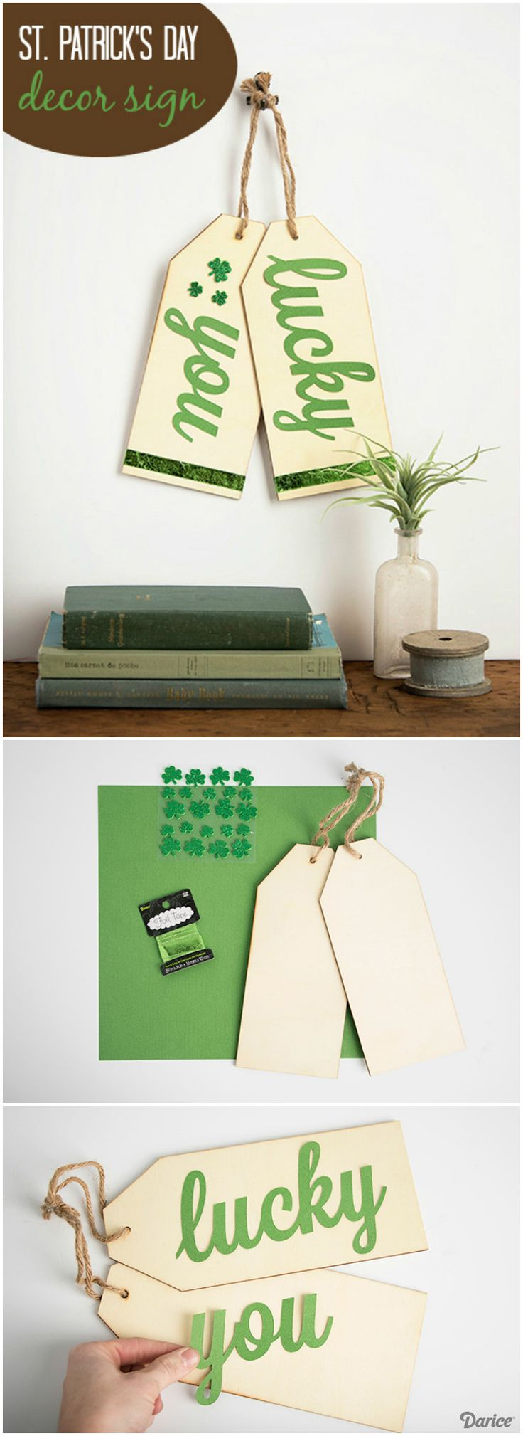 Turn these trending over-sized wood tags into a fun St. Patrick's Day DIY decor sign. It would look great displayed on your front door or in the home.