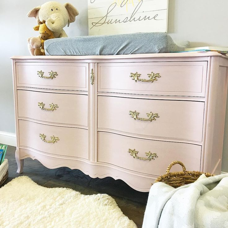 Gorgeous dresser and changing table for a nursery painted with Chalk Paint® in Antoinette with Clear Chalk Paint® Wax | Lovely and ethereal project for a baby room by Vintage Refined