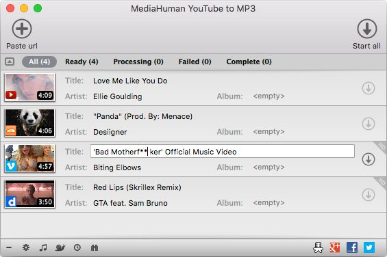 Extracts MP3 audio from YouTube, Vimeo, Dailymotion, Mixcloud, Bandcamp, SoundCloud and many others. Available for macOS, Windows and Ubuntu/Linux. FREE!
