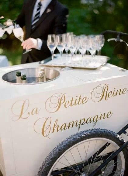 Add a touch of Parisian romance to your day with a champagne cart! #weddingideasEngagement Parties, Champagne Carts, Champagne Drinks, Ice Cream, Wedding Reception, Champagne Toast, Bar Carts, Gardens Parties, Champagne Bar