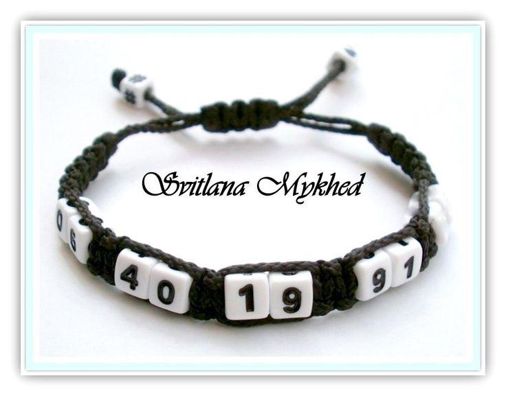 """Bracelet de sécurité """"Numero de telephone"""" (réversible) personnalisé . Bracelet mémoire. Bracelet personnes âgées, enfants. : Bracelet par perles-et-couronnes"""