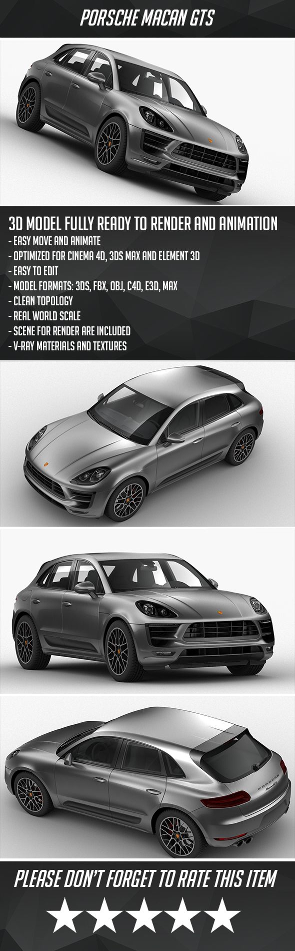 Porsche Macan GTS 2018. Fully editable and reusable 3D model of a car. #3D #3DMo…