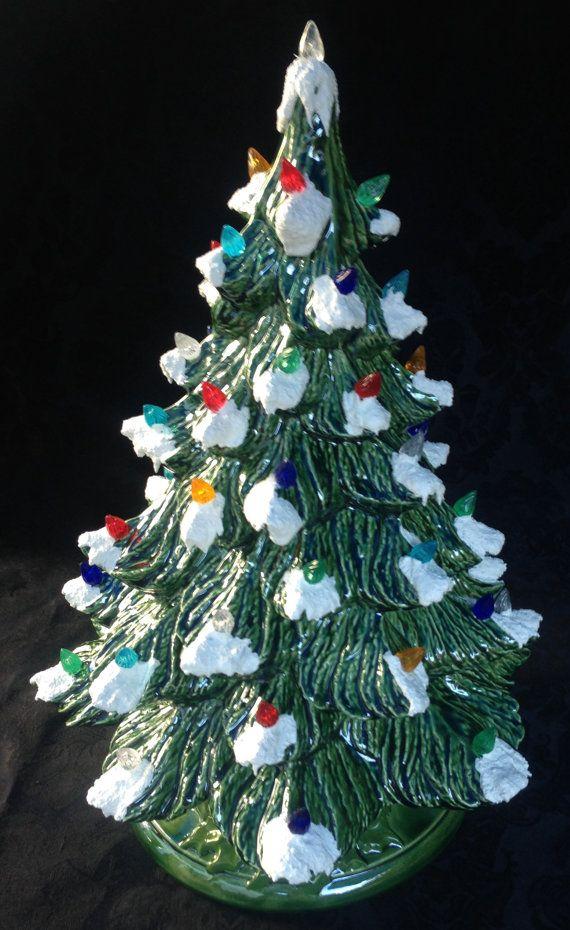 Old Fashion Ceramic lighted Christmas Tree by CDJ4Ceramics on Etsy, $85.00