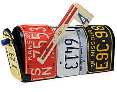 great idea: repurposing old license plates into a mailbox