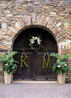 Initial moss sign: Reception, The Doors, Moss Letters, Wedding Ideas, Wedding Decorations, Initial, Flower