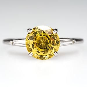 yellow sapphire engagement rings   Yellow Sapphire Engagement Ring w/ Tapered Baguette Diamonds Platinum