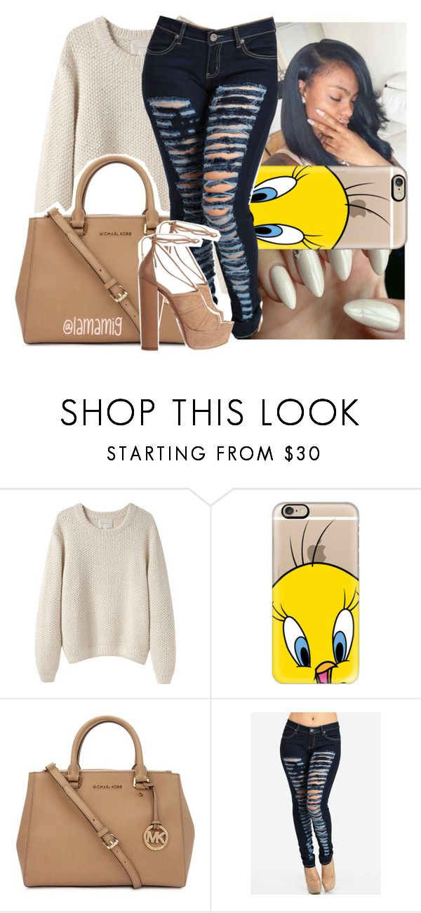 """""""lil momma said she wet, she wetter than the ocean"""" by lamamig ❤ liked on Polyvore featuring La Garçonne Moderne, Casetify, Michael Kors and Aquazzura"""