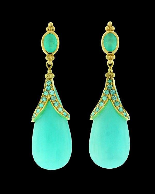 PAULA CREVOSHAY - E208T1 - Drops Peruvian Blue Opal Blue Zircon