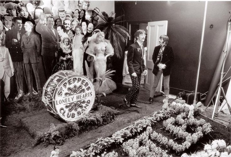 Setting up for the Sgt Pepper's album cover shot