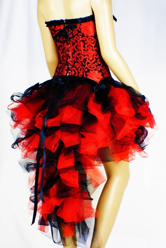 Tutu Skirt Burlesque Moulin Rouge Black Red Dress Up Party Ball S M L XL 6-16 | eBay