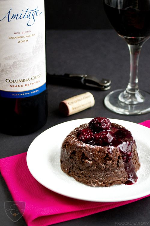Chocolate Lava Cake with Blackberry Wine Sauce for Two paired with a delicious red wine