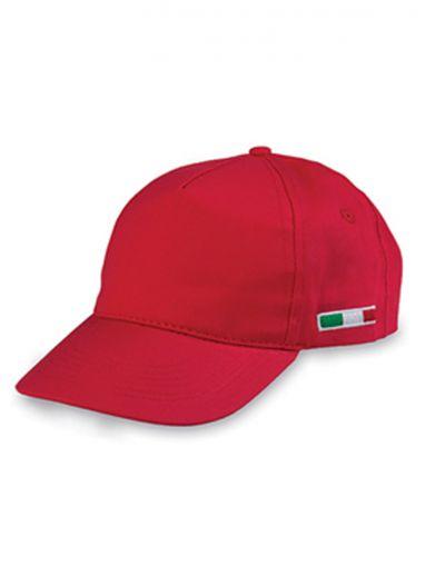 Cappellino-Baseball-5-Pannelli-Adulto-con-Bandiera-Tricolore-ricamata-BYB102-rosso