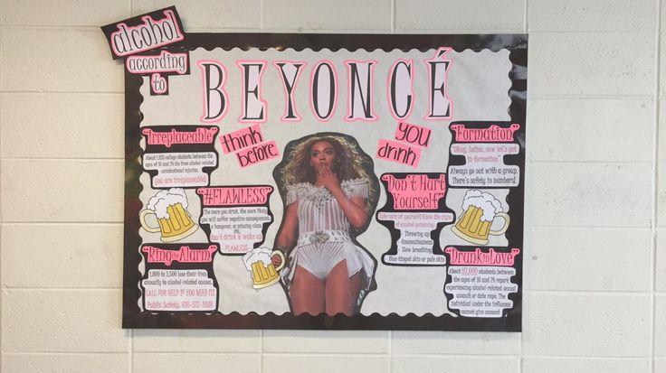 Alcohol According to Beyoncé Alcohol Awareness RA Bulletin Board by Taliah Nasheé