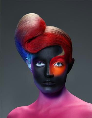 ***Sculpted hair, fantasy makeup.
