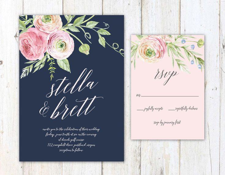 Navy Blush and Cream Wedding Invitation by AlexaNelsonPrints