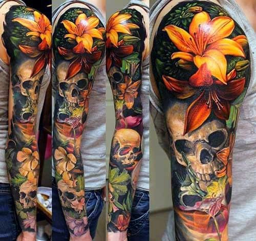 Skull Realistic 3d Lotus Flower Full Sleeve Mens Colorful Tattoos