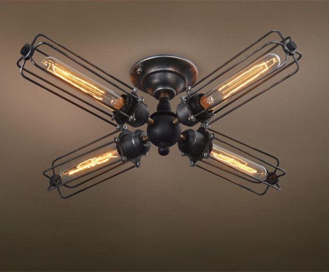 Westmenlights Livingroom Semi Flush Mount Ceiling Lighting 4 Lights Loft Industrial Ceiling Lamp CUREL