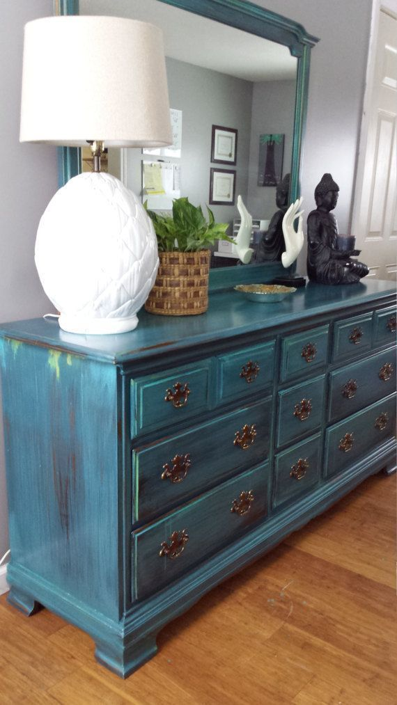 Hand Painted Teal Dresser Patina Green Blue Turquoise Bureau Bohemian Eclectic Painted Fu Dresser Decor Bedroom Teal Furniture Mirrored Bedroom Furniture