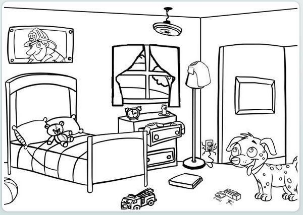 Bedroom Coloring Page For Kids Coloring Pages For Kids Coloring Pages Colouring Pages