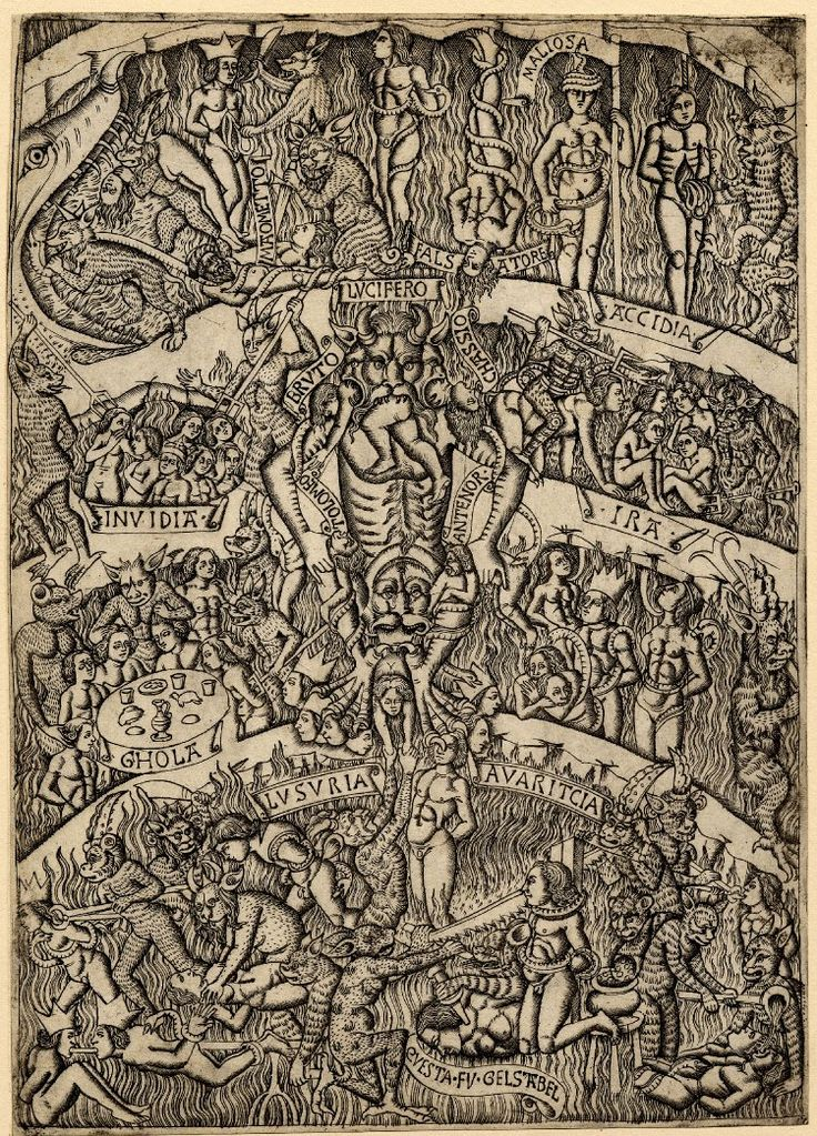 An Italian engraving, 1460-70, depicting Dante's Inferno; 'in the centre, Lucifer torturing several damned souls, some of whom are named (e.g., BRUTO, TOLOMEO, ANTENOR, CHASSIO); around this other sinners are being tortured by devils; various cardinal sins are also indicated (eg. LUSURIA, AVARICIA, GHOLA, INVIDIA).' (British Museum)