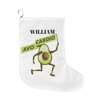 Avocardio cartoon avocado large christmas stocking - christmas stockings merry xmas cyo family gifts presents