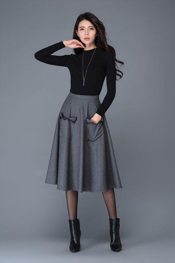 dark grey wool skirt midi skirt pocket skirt winter by YL1dress
