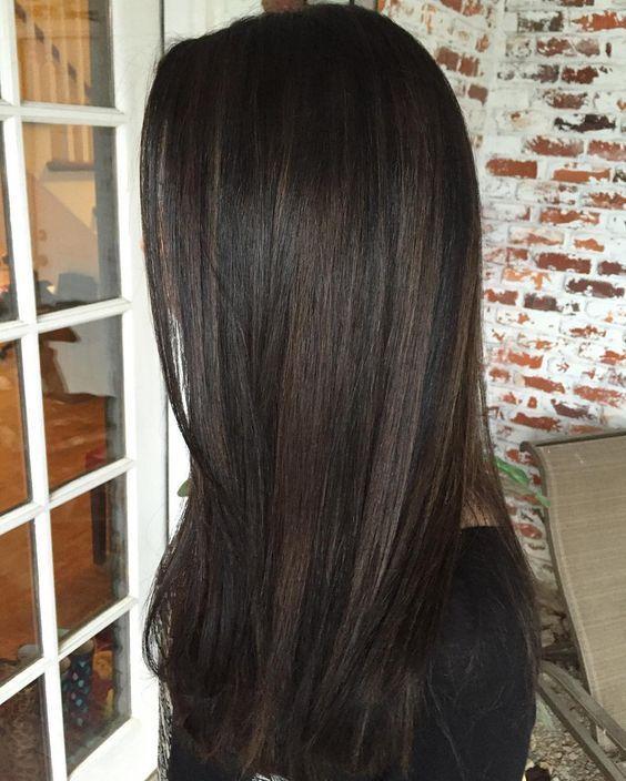 10 black hair with chestnut highlights - Styleoholic ...