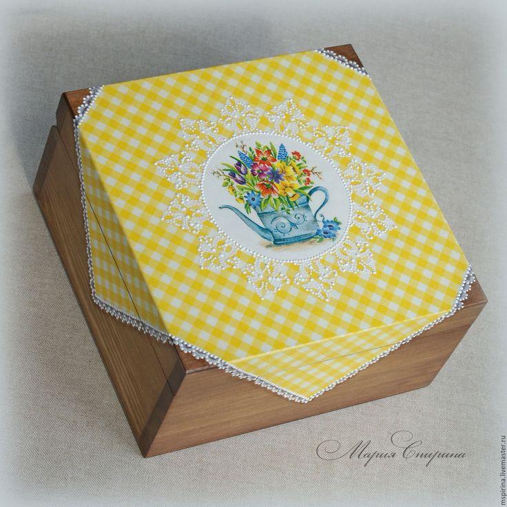 """Купить Чайная шкатулка """"Июль"""" для чайных пакетиков в интернет магазине на Ярмарке Мастеров"""