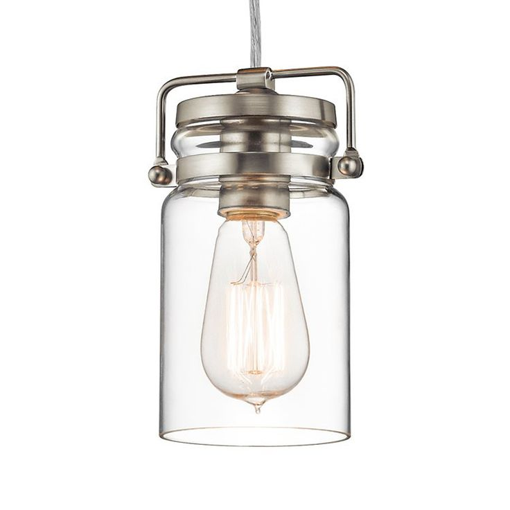 kichler brinley 475in brushed nickel industrial hardwired mini clear glass jar pendant 42878ni destination lighting