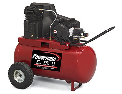 Powermate Vx PPA1982054 20-Gallon Oil Lubricated Belt Driven Air Compressor. Cast iron twin cylinder oil lubricated pump. Heavy duty, dual voltage, induction motor is wired 120-Volt and may also be converted for 240-Volt applications. 155 PSI max pressure for optimum tool performance. 20-Gallon ASME portable tank with pre-attached pneumatic tires for maximum portability. Maximum pressure: 155 PSI; CFM at 90 PSI: 5.7; CFM at 40 PSI: 7.0; RHP: 1.9; UL and CSA certified.