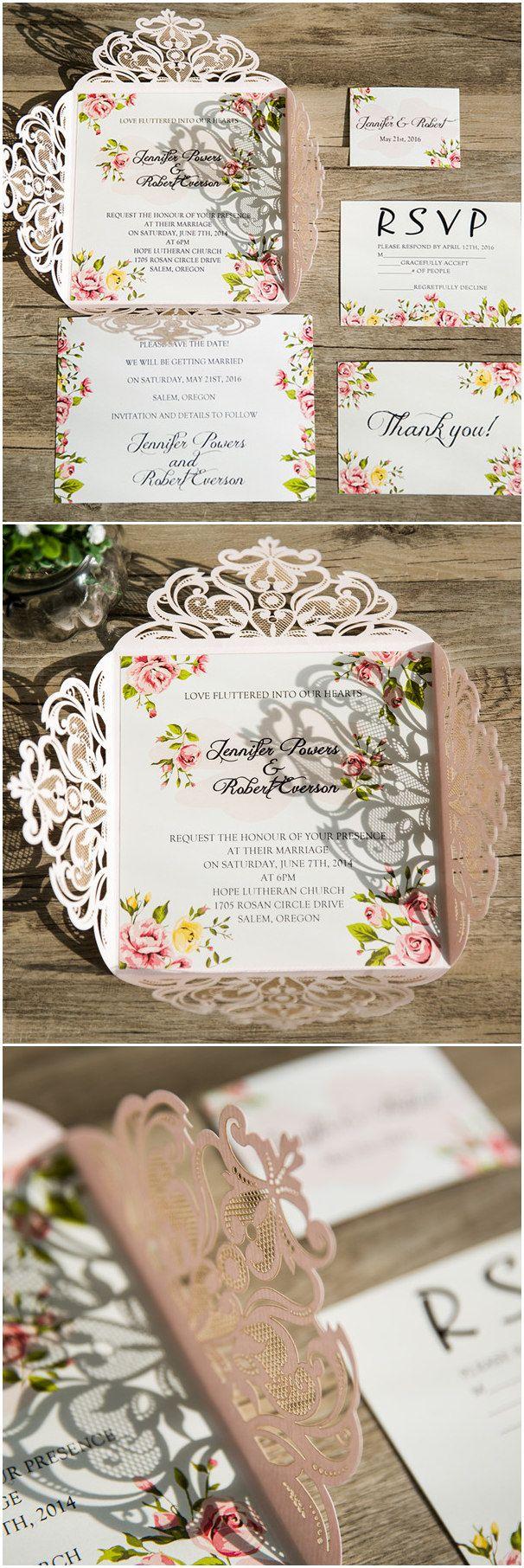 laser cut wedding invites canada%0A blush pink laser cut floral wedding invitations EWWS