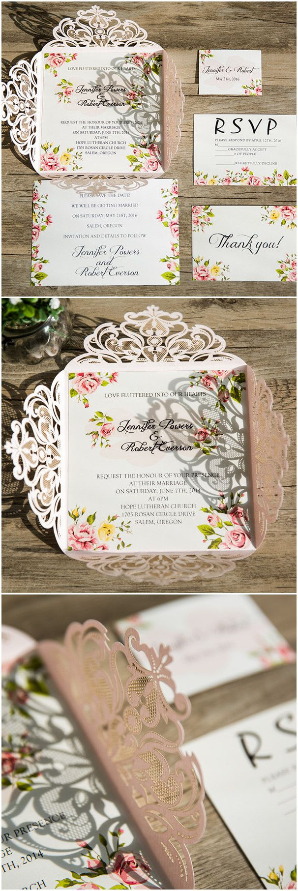 blush pink laser cut wedding invitations with floral prints cards for spring summer 2016 EWWS064