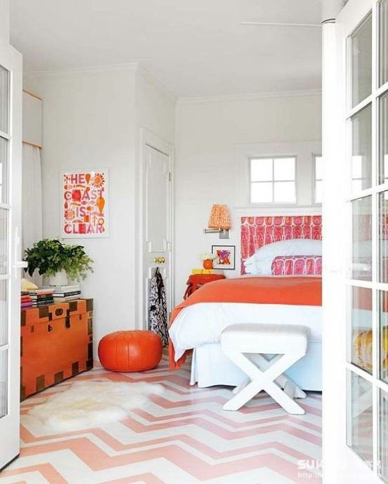 A fun colorful bedroom. Love the sorbet colors!