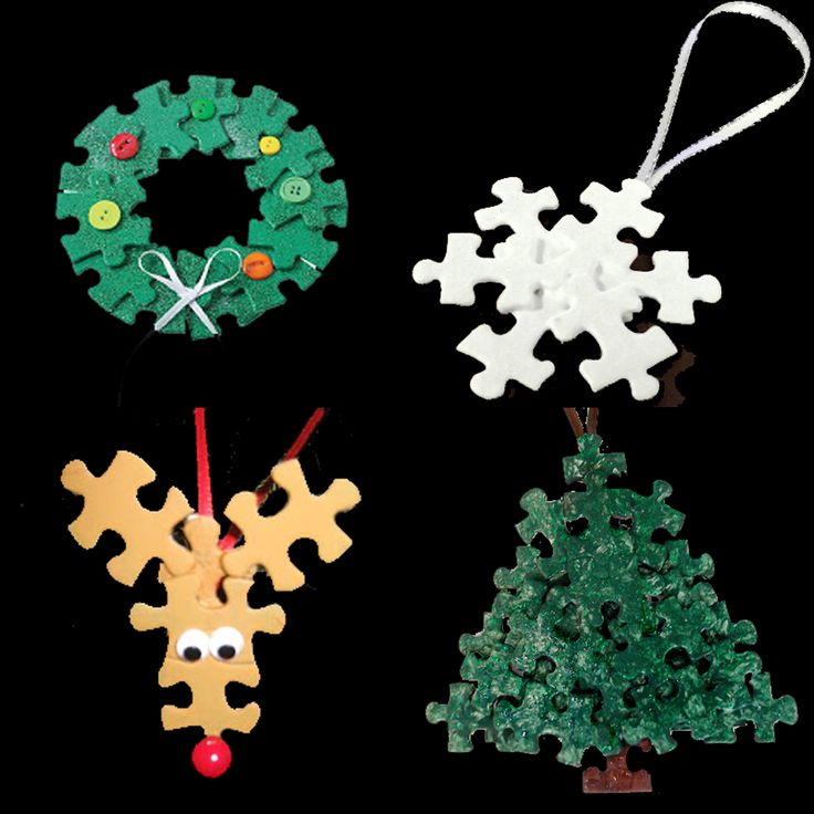 Puzzle Piece Ornaments: A new way to repurpose old puzzles that may be missing pieces and really can't be passed along or have been worn from use.