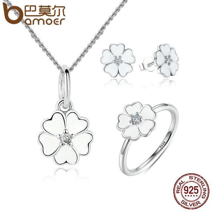 BAMOER 100% 925 bijoux en argent Sterling Set Primrose fleur blanc émail bijoux ensembles bijoux en argent Sterling