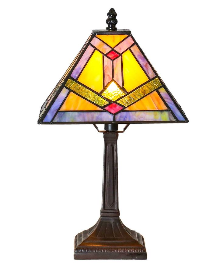 "River of Goods 15039 Tiffany Style Stained Glass Southwestern Sunrise Accent Lamp 15.25"" H. Beautiful tiffany style accent lamp. Made with 80 pieces of hand cut glass. 62 inch long cord with inline switch. Requires one 25 watt bulb (not included). Clean with a damp cloth or with lemon oil polish; dry with a clean, dry cloth."
