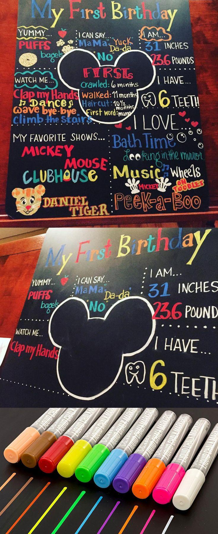 Gmail marker theme - First Birthday Milestone Chalkboard Make With Kassa Liquid Chalk Markers The Center Is A Mickey
