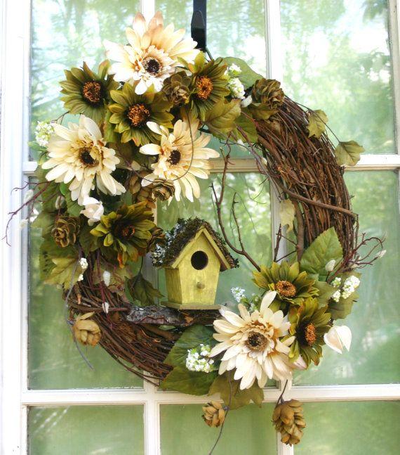 wreaths ~Moss Cottage ~ summer wreaths spring wreath woodland wreath  birdhouses nature daisies shabby chic cottage wall art door wreaths