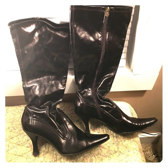 """Size 9 knee high dark brown heel boots Only worn once! Great condition. Dark brown knee high heel boots, size 9. 2.5"""" heel. Shoes Heeled Boots"""