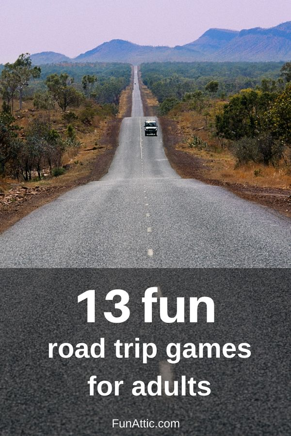 13 fun road trip games adults. All the games you need to take boring out of long road trips! Visit FunAttic.com for more fun activities, game ideas, games for birthday parties, outdoor games, picnic activities, family and kid friendly games, company events, and fun home schooling ideas.