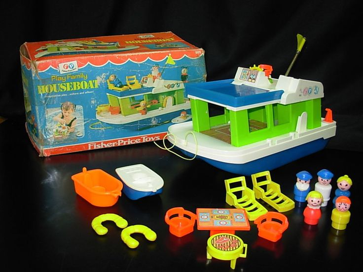 COMPLETE Vintage Fisher Price Little People #985 HOUSE BOAT + Extra