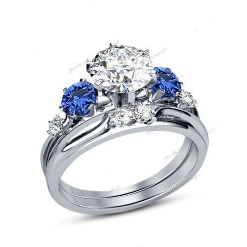 Ladies Size 5-12 White & Blue Stones 925 Silver 2Pcs Wedding Bridal Ring Set New #giftjewelry22
